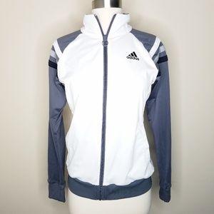 Adidas full zip track jacket gray stripe sleeve